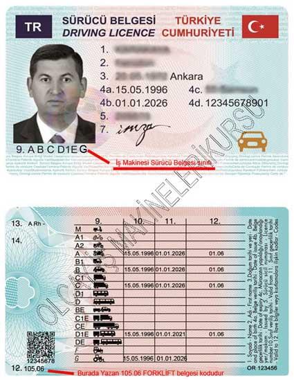 Yeni tip forklift ehliyeti, forklift ehliyet kodu, iş makinesi ehliyet kodları
